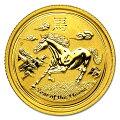 干支馬うま金貨1/10オンス2014年製オーストラリアパース造幣局発行(表)