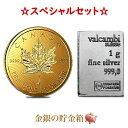 《金・銀セット》「あす楽対応」『メイプル金貨 1g + スイス ヴァルカンビ シルバーバー 1g』純金 24金 コイン K24 カ…