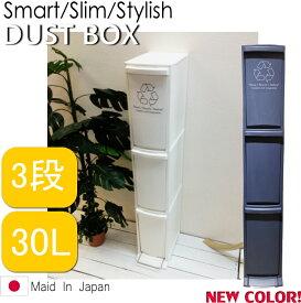 ※ダストボックス 3D 3段 ゴミ箱 ごみ箱 分別 縦型 スリム ふた付き フタ付き プッシュ すき間 省スペース フラップ式 ペダル 30リットル おしゃれ キッチン シンプル LFS-933WH ホワイト ネイビー