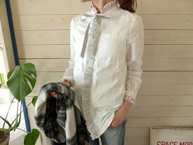 KAPITAL(キャピタル) 綿×リネンパッチワークフリルリボンシャツ(K1810LS100)