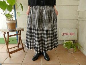 ROCK MOUNT(ロックマウント) ミックスギンガムギャザースカート ブラック(R165)