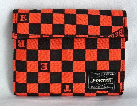 ■未使用■ ポーター×ビームス チェッカー柄折り財布(横)オレンジ×黒 ウォレット PORTER×BEAMS A06259