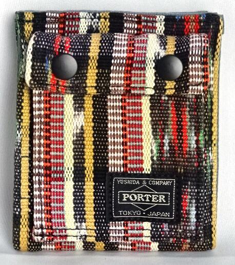 ■未使用■ ポーター×ビームス×アルテサニア マルチ柄キャンバス折り財布(縦) 黒系マルチカラー ウォレット PORTER×BEAMS×ARTESANIA A06274
