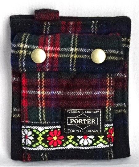 ■未使用■ ポーター×ビームスボーイ チェック×花柄キルティング折り財布(縦)赤系 ウォレット PORTER×BEAMS BOY A06264