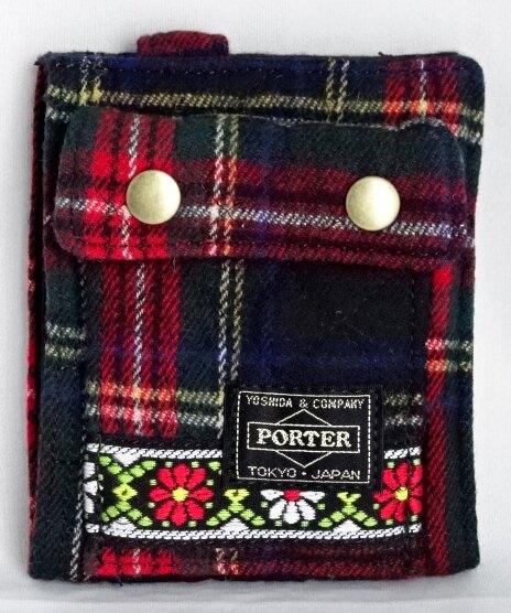 ■未使用■ ポーター×ビームスボーイ チェック×花柄キルティング折り財布(縦)赤系 ウォレット PORTER×BEAMS BOY A06265