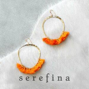 serefina セレフィーナ Tassel Hoop Earrings ORANGE タッセルフープピアス イヤリング オレンジ ボヘミアン フェス ホーボー シンプル カジュアル 大ぶり 揺れる レディース