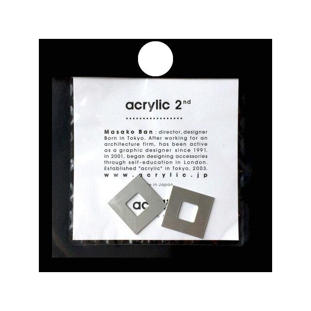 【メール便可】【ラッピング無料】acrylic アクリリック acrylic 2nd GUM EARRING parts (885)【スクエア 小 アルミ(シルバー)イヤリング パーツ 】坂雅子 masako ban ノンホールピアス パーツ