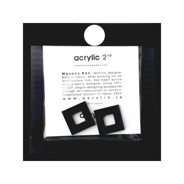 acrylic アクリリック acrylic 2nd GUM EARRING parts (923)【スクエア 小(ニューブラック)イヤリング パーツ 】坂雅子 masako ban ノンホールピアス パーツ 大ぶり 黒【メール便可】【ラッピング無料】
