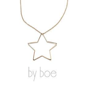 by boe バイボー【476】Delicate Star Necklace デリケイト スター ネックレス ペンダント 星 14kgf ゴールド シンプル カジュアル 華奢 大ぶり 大きめ 揺れる NY レディース