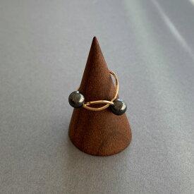 by boe バイボー【R121】Black wire Pearl Ring ブラック パール ワイヤー リング 指輪 真珠 黒真珠 14kgf ゴールド シンプル カジュアル 華奢 NY レディース