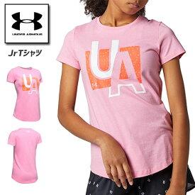 アンダーアーマー ジュニア Tシャツ 小学生 女の子 160cm対応 1351643 ヒートギア(夏用) UNDER ARMOUR ガールズTシャツ<ライブグラフィック>