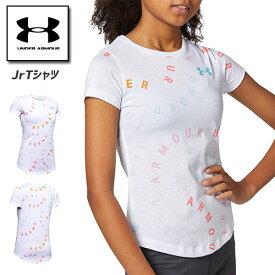 アンダーアーマー ジュニア Tシャツ 小学生 女の子 160cm 1351654 ヒートギア(夏用) UNDER ARMOUR ガールズTシャツ<ライブプリントワード>