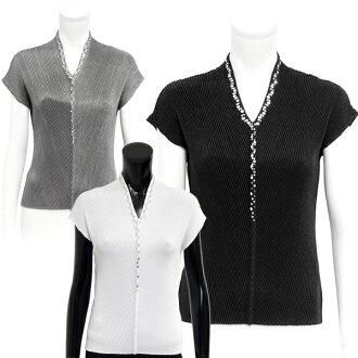 SPECCHIO Specchio / shuttle pleated V neckline Short Sleeve Tops/v neck short sleeve / formal]