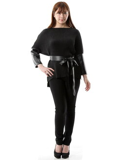 M L XL [product targeted for BIG SALE] with SPECCHIO スペッチオシャトルプリーツ synthetic leather change pullover tunic long sleeves belt