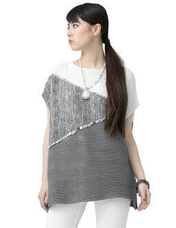 SPECCHIO スペッチオシャトルプリーツカラーブロックプルオーバーチュニック short sleeves A-line white X gray