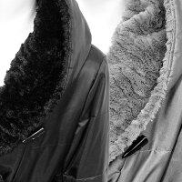 SPECCHIOスペッチオフェイクファー付中わた暖かフード付きハーフ丈コートブラックグレー