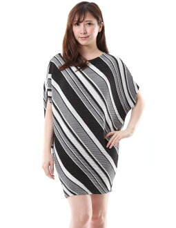 SPECCHIO スペッチオシャトルプリーツプリーツ slant stripe tunic dress is loose
