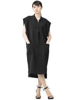 SPECCHIO Petch male tripe pattern stands skipper color long dress