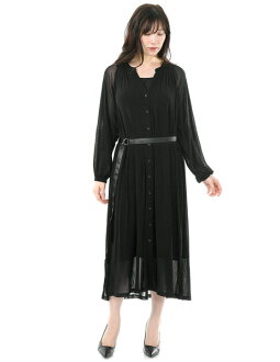Black plain fabric with SPECCHIO スペッチオフロントボタンソフトパワーネットロングワンピース long sleeves belt