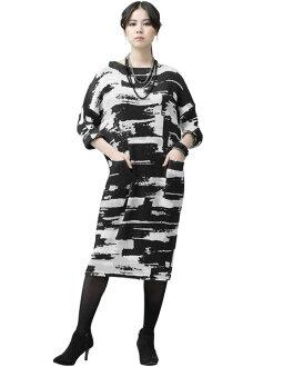 SPECCHIO スペッチオシャトルプリーツモノトーンプリント long sleeves loose dress