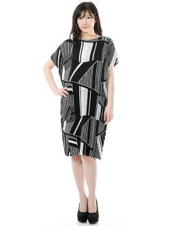 SPECCHIO スペッチオシャトルプリーツ short-sleeved unhurried dress monotone geometry print