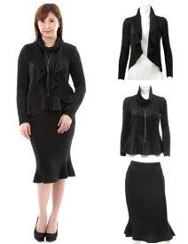SPECCHIO スペッチオ シャトルプリーツ フォーマル スカートスーツ 5点セット ネックレス スヌード付 ブラック