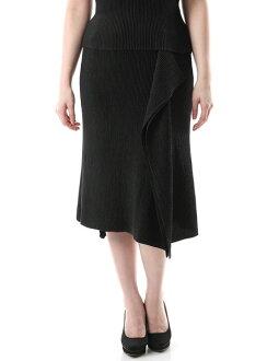SPECCHIO スペッチオシャトルプリーツイレギュラーヘムミモレ length skirt black