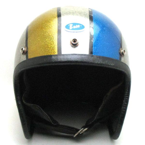 【在庫有 即納】【送料無料】BUCO SILVER×YELLOW×BLUE 59cm スモールジェットヘルメットオープンフェイスアメリカンブコシルバー銀色イエロー黄色ブルー青色ラメメタルフレークM〜Lサイズ