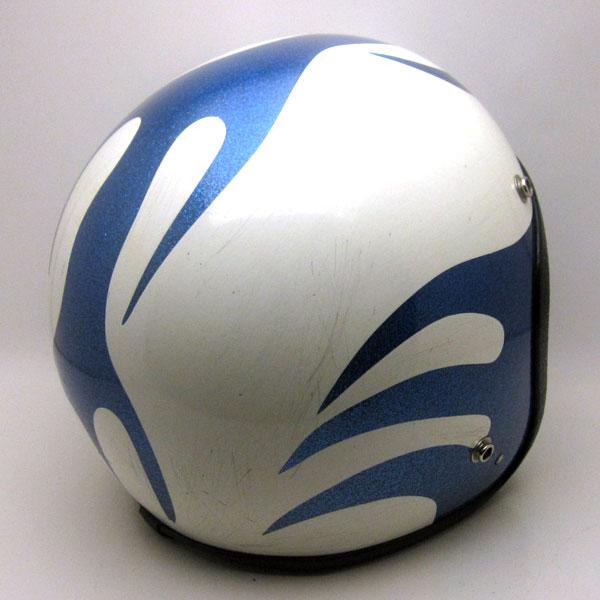【在庫有 即納】【送料無料】 SAFETECH FLAMES WHITE × BLUE 58cm ビンテージスモールジェットヘルメットオープンフェイスbellベルbucoブコshmタチバナ立花