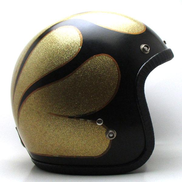【在庫有 即納】【送料無料】DIC FLAMES BLACK × GOLD 62cm ビンテージスモールジェットヘルメットオープンフェイスbellベルbucoブコshmタチバナ立花