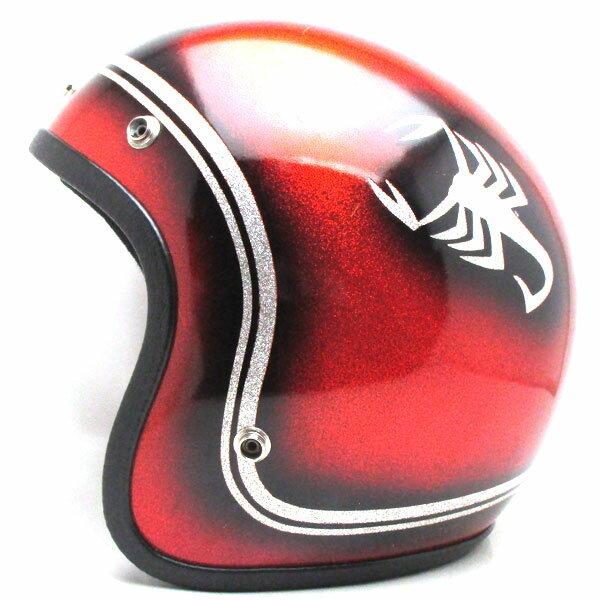 【在庫有 即納】【送料無料】SCORPION ORANGE 58cm スモールジェットヘルメットオープンフェイスアメリカンオレンジ橙色スコーピオンサソリ柄ラメメタルフレークMサイズ