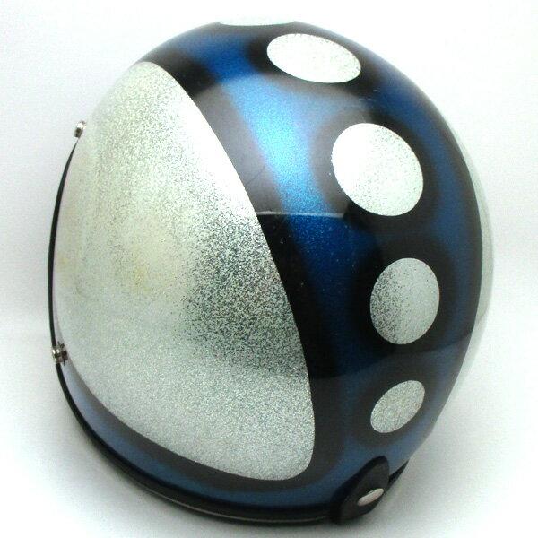 【在庫有 即納】【送料無料】SATURN BLUE×SILVER METALFLAKE 57cm スモールジェットヘルメットオープンフェイスアメリカンブルー青色シルバー銀色ラメメタルフレークS〜Mサイズ