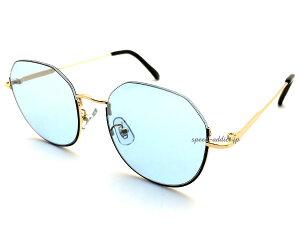 UNDER RIM SUNGLASS(アンダーリムサングラス)GOLD/BLACK × LIGHT BLUE ゴールド金ブラックライトブルーレンズ青カラーレンズ眼鏡メガネめがね下縁フレームハーフリム逆ナイロール小顔効果個性的メ