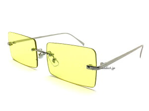 FLAT LENS SQUARE SUNGLASS(フラットレンズスクエアサングラス)SILVER × YELLOW 銀シルバーイエロー黄色伊達眼鏡めがねメガネサングラスレトロカラフルアクセサリーパーティーイベントクラシカル