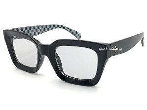BIG SQUARE SUNGLASS(ビッグスクエアサングラス)BLACK/CHECK × LIGHT SMOKE ブラック黒ライトスモークカラーフレームチェックチェッカーモノトーン白黒伊達眼鏡だてめがねメガネトレンド個性的パー