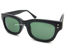 60's STYLE OLD WELLINGTON SUNGLASS(60sスタイルオールドウェリントンサングラス)艶消しBLACK × DARK GREEN マットブラック黒カラーレンズグリーンレンズバイカーシェードbikershadeメガネ眼鏡めがねアイウェア