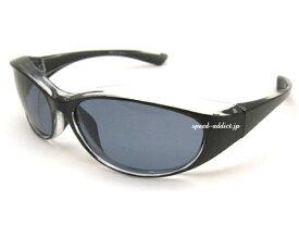 BIKER SHADE WIND GUARD(バイカーシェードウインドガード)BLACK/CLEAR × 偏光SMOKE 偏光レンズ定番トレンド流行uvカット紫外線カットアイウェア眼鏡メガネめがねツーリング自動二輪オートバイ