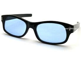 STRAIGHT TEMPLE BIKER SHADE(ストレートテンプルバイカーシェード)BLACK × LIGHT BLUE ヘルメット自動二輪車モーターサイクルシェイプパイロットバイヨネットアームサングラスsunglassesツルブルーレンズ黒縁