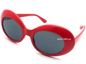 70's DESIGN OVAL SUNGLASS(70sデザインオーバルサングラス)RED × SMOKE 赤nirvanaニルヴァーナニルバーナカートコバーンオルタナティブグランジファッション夏フェスロックフェスラウンドフレームビッグフレームハリウッド女優セレブ