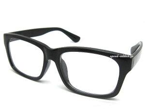 SQUARE WELLINGTON SUNGLASS(スクエアウエリントンサングラス)BLACK × CLEAR 黒縁黒ぶちフレーム伊達メガネ伊達眼鏡伊達めがねダテメガネだてめがね四角シェイプアメカジ系定番トレンド流行uvカッ