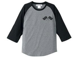 CHECKER FLAGS Raglan 3/4 Sleeves T-shirt(チェッカーフラッグラグラン3/4スリーブTシャツ)GRAY × BLACK カフェレーサーvespaべスパヴェスパlambrettaランブレッタmodsモッズtriumphトライアンフnortonノートン