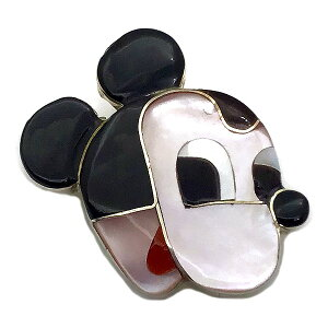 Paula Leekity Mickey Mouse Brooch Pendant top(ポーラ リーキティ ミッキーマウス 顔 ブローチ・ペンダントトップ) ズニ族zuniインディアンジュエリーネイティブアメリカンインレイ技法シルバーシェル