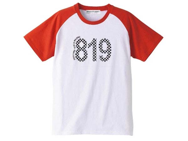 819 Raglan T-shirt(819ラグランTシャツ)WHITE × RED 白赤チェック柄バイカーファッションバイクウェアカフェレーサーmodsモッズvespaヴェスパtriumphトライアンフnortonノートン英車英国車国産車アメカジ古着