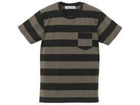 PRISONER BORDER POCKET T-shirt(プリズナーボーダーポケットTシャツ)BLACK × CHARCOAL ブラック黒色チャコールグレー半袖古着アメカジ縞しましまプリズン囚人服カートコバーングランジパンクバンドモーターサイクル横縞模様ドライブ