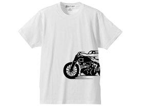 スピードアディクト サイドプリント T-shirt(SPEED ADDICTサイドプリントTシャツ)WHITE ボンネビルt100t120サンダーバードタイガースクランブラーロケット3スピードトリプルスラクストントライアンフノートンhondakawasakiyamahasuzuki