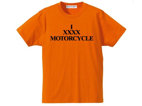 I XXXX MOTORCYCLE T-shirt(I XXXXモーターサイクルTシャツ)ORANGE オレンジバイカーファッションバイクウェアカフェレーサーmodsモッズvespaヴェスパtriumphトライアンフnortonノートン英車英国車国産車アメカジ