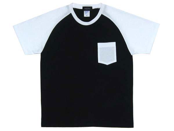MONOTONE POCKET T-shirt(モノトーンポケットTシャツ)BLACK×WHITE 半袖ポケT白黒切り替え切替えラグランバイカーファッションバイクウェアカフェレーサーmodsモッズvespaヴェスパnortonノートンbsa英国車アメカジ