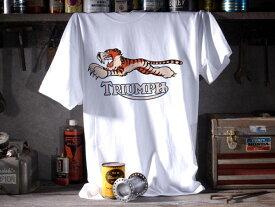 TRIUMPH TIGER T-shirt(トライアンフタイガーTシャツ)WHITE 6tサンダーバードtr5トロフィーtr6t120ボンネビルt140t110タイガーカブt100tr7デイトナスピードトリプルスプリントスラクストンスクランブラーロケット3
