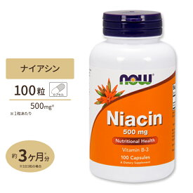 ナイアシン 500mg 100カプセル《約3カ月分》 NOW Foods(ナウフーズ)つかれ/エネルギー/活力/元気/ビタミンB3