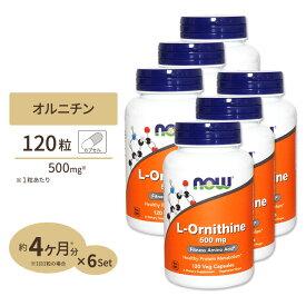 【送料無料】[6個セット]L-オルニチン 500mg 120粒 NOW Foods(ナウフーズ)